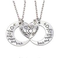 Coração Mãe Filha Colar Eu Te Amo Para A Lua E Para Trás 2 Peças Coração Quebrado Colar Colar De Aço Inoxidável