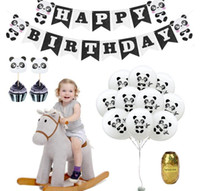 Palloncino buon compleanno Set Panda Tema Party Decoration Set con Banner Cake Toppers Panda Printed Balloon