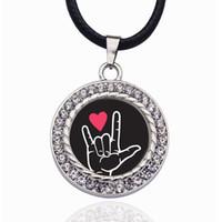 Joyería TE QUIERO intérprete de señas encanto del círculo collares pendientes cristalinos de la fiesta Gargantilla para las mujeres vendimia del encanto de regalo