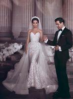 Novo barato sweetheart lace sereia vestidos de casamento vestidos de noiva 2019 com vestido de noiva de trem destacável vestido de casamento de cristal véu livre H044
