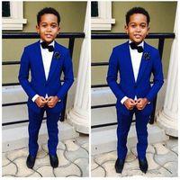 الملكي الأزرق الصبي الدعاوى الرسمية العشاء البدلات الرسمية الصبي الصغير رفقاء أطفال الأطفال ل حفل زفاف حفلة موسيقية دعوى رسمي (جاكيتات + بنطلون)