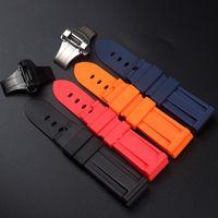 Bracelets de montres pour PANERAI 24mm (Boucle 22mm) Hommes plongée en silicone noir en caoutchouc noir watchbands rouge Bracelet Boucle BANDES