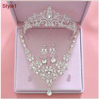 2021 Fashion Crystal Bridal Jewelry Set da sposa corona orecchini collana accessori da sposa a buon mercato accessori da sposa da sposa donne Prom Bride Tiara corona