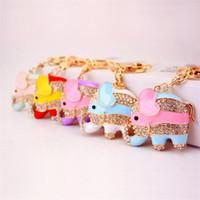 Catene colorate pendente dell'elefante portachiavi di cristallo dell'animale di strass Portachiavi catenaccio chiave del metallo auto borsa Decor Charm Craft