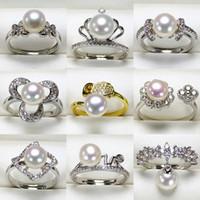 2019 ajustes de anillo de perlas de bricolaje 925 anillos de plata anillo de circón para niña mujer niña joyería fina brillante regalo de bricolaje ajustable 9 unids / lote