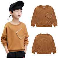 New boys t- shirts kids long sleeve tees tops clothes solid c...