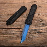 Vendita calda! Nuovo A163 Auto tattico coltello 440C blu titanio rivestito Lama lega in fibra di carbonio + maniglia a tasca coltelli con sacco in nylon
