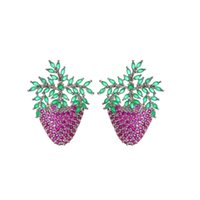 S925 Strawberry Earrigns For Girls Shinning CZ Fruit Dangler...