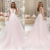 Prenses Çiçek Dantel ve Işık Tül Oluşturulan Bir Çizgi Hassasiyet Tül Reals Düğün Için Gelinlik Ile Romantik Narin Gelin Elbise Renk