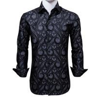Silk Men's Long Sleeve Shirts Jacquard Woven Black Purple Paisley Slim Shirt for Dress Party Wedding Fast Shipping Exquisite Fashion CY-0004