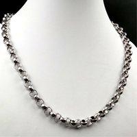 2020 gioielli di vendita calda 18-40 pollici regali padre 10mm argento acciaio inox enorme moda lucido rotondo rotolo rolo collegamento a catena