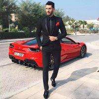 New Slim Fit Homens Negros Ternos 2018 Do Noivo Do Casamento Smoking Noivo Ternos Padrinho de Casamento Prom Wear Melhor Homem Blazer 2 Peças (Jacket + Calças) 310