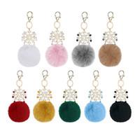 9 Les vraies couleurs de fourrure de lapin en peluche balle Porte-clés en alliage doux flocon de neige Porte-clés de voiture Sac décoration Accessoires Bijoux fantaisie