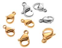 Nuovi 1000pcs / lot dei monili catenacci in acciaio inossidabile Finding Chiusura Ganci per catena fai da te collana braccialetto che fa 10 / 12MM
