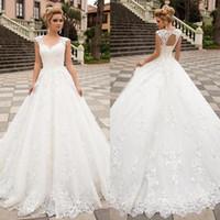 2020 Praia Boho de vestidos Line Wedding V Neck Corset Voltar Jardim noiva Vestidos de apliques de renda Sweep Trem vestidos de novia