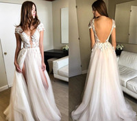 2019 Beach Bohomian Tulle Wedding Dresses Sexy Deep V Neck L...