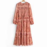 Повседневные платья WXWT женская верхняя часть тела плотно растягивается с длинными рукавами шифоновые платья дамы богемский стиль праздник вечеринка