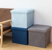 Storage ottoman cube linen small coffee table foot rest stoo...