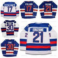 Spedizione Da US Mike Eruzione 21 Jack O'Callahan 17 Jim Craig 30 Miracle On Ice Team USA Hockey Jersey Blu Bianco cucito S-3XL