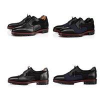 Bezerro Grained Couros Lug Evening Partido Sole novíssimo Mika Sky Loafers Red inferior Gentleman Oxford Walking Flats Luxury Dres Negócios
