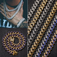 15 mm 6 colores personalizado oro plata hip hop bling diamante cubano enlace collar de cadena para hombres Miami rapper Bijoux para hombre cadenas de la joyería
