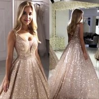 Gorgeous Rose Gold Sequined Evening Dresses V Neck Sparkling Bling Sequin A-line Backless Prom Party Dresses Robe De Soiree Formal Gowns