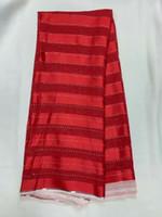 5Yards / Beaucoup de tissu de soie en mousseline rouge avec strass africain doux satin dentelle pour la vinaigrette LG1-11