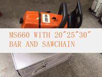 """جديد MS660 بالمنشار 92CC سلسلة المنشار مع 20 """"/ 25"""" / 30 بوصة بار وسلسلة شحن مجاني"""