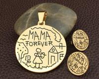 Set di gioielli in acciaio inossidabile di moda Mamma per sempre per bambini Donna Pendenti e orecchini Vendite di supernova
