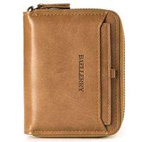 محفظة جلدية الرجال مع عملات جيب سستة محفظة حامل بطاقة الهوية