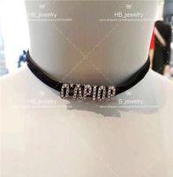 Mode ont les timbres Collier velours lettre Version haute pour dame choker bijoux des femmes du Parti bijoux cadeau Lovers mariage pour la jeune mariée avec boîte