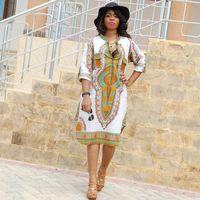Fashion-3XL زائد الحجم بالجملة الملابس dashiki الأفريقية اللباس للمرأة عارضة الصيف الهبي طباعة dashiki النسيج فام بوهو رداء فام
