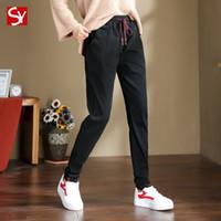 Kot kadınlar düz tüp sarkık ince 2020 ilkbahar / yaz yeni yönlü Harlan şalgam pantolon siyah baba pantolon yüksek belli