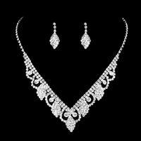 Feis HotSale Shinny Hoja perforada Collar y Earings Set Devide Siligery Jewerly Accesorios De Boda Whosesale Y Retail
