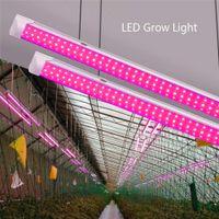 Led Grow Light, Full Spectrum, Piel Spectrum, Elevata uscita, Design collegabile, Lampadina integrata T8 + Apparecchio, luci piante per impianti interni, tubo a forma di 2FT-8FT V