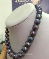 "new BEAUTIFUL 18"" 9- 10MM TAHITIAN BLACK PEARL NECKLACE"