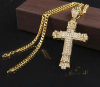 Diamantes Cruz de Plata Nuevo Retro Charm completa pendiente de hielo fuera simulados CZ Collar Colgante crucifijo católico Con Cadena Larga cubana GB 1491