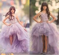 2020 Design Clássico High Low Girls Pageant Vestidos Jewel Lace Appliques Hi-Lo Lilás Quinceanera Vestidos Bola Vestido Criança Birthday Birthday