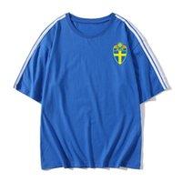 İsveç Futbol Tişörtlü yetişkin Kısa kollu futbol Formalar yaz moda Boş Marka Futbol shirt T-shirt