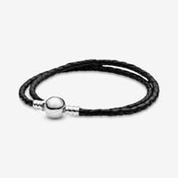 100% 925 Moments en argent sterling Double bracelet en cuir rose noir Chaîne classique Arrête ronde Fashion Femmes Mariage Engagement Bijoux Accessoires