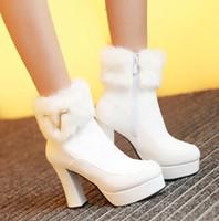 Rozmiar 33 do 43 z pudełkiem Buty ślubne Białe Czarne Botki Kostki Zimowe Futro Buty Platformy Chunky Obcasy