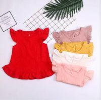 Vêtements pour enfants Designer filles Ruffle T-shirts d'été couleur de sucrerie Volants T-shirt manches mode Fly col rond massif Vêtements BYP534