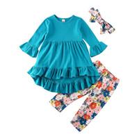 Tout-petit bébé layette manches longues Tops Robes Pantalons floraux Tenues 1-4T / PAR