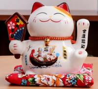 Chat porte-bonheur ornements main électrique chat en céramique japonais petite fortune chat caissier boutique de cadeaux créatifs ouvert