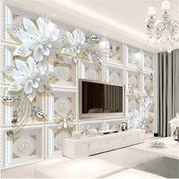 Tamaño personalizado 3D Papel pintado Papel pintado Sala de estar Sala de camas Mural Joyería en relieve Flores Imagen Sofá TV Telev Papel pintado Pegatina de pared no tejida