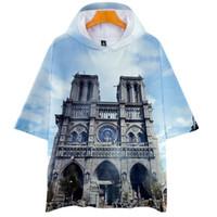 Moda-Notre Dame DE Paris Erkek Kısa Kollu Kapüşonlular Kadınlar 3D Baskılı O-Boyun Moda Tişört Erkek Nedensel Giyim Tops