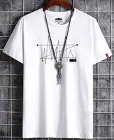 رجل مصمم القمصان ملابس الصيف بسيط الشارع الشهير الأزياء خط طباعة القطن الزى عارضة الرجال تي تي شيرت أبيض أسود زائد الحجم 6xl