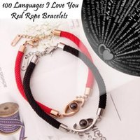 100 Languages I Love You Red Rope Bracelets Projection Bangl...