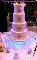 "LED를 포함한 웨딩 중심, 테이블 중심 / 결혼식 유리 크리스탈 케이크 stand / 16 ""직경 8""키가 큰 / 40cmx20cm 키가 -01"