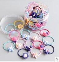 30 Adet / setleri Yeni moda elastik lastik saç bantları kızlar Çiçek at kuyruğu -holder saç bandı Karikatür 5 setleri Mix Toptan buzlu